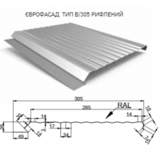 "Фасадная Панель ""ЕВРОФАСАД"" тип В 305 мм 0,5 мм RAL 8017 PEMA ( Польша )"