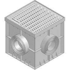 Точечний дренаж HAURATON Recyfix Point 30/30 (300х 300х 300), PE-PP (сірий) з пластик. корзиною для сміття, гідрозатвором та оцинк. решіткою прямокут.