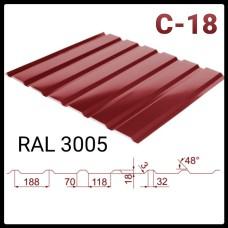 Профнастил Мегасити | С-18 | RAL 3005 |  0,45 мм |Китай