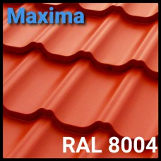 Металлочерепица MAXIMA 0,45 мм PEMA RAL 8004 Optima Steel