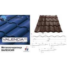 Металлочерепица VALENCIA завод Сталекс 350/20 0,50*1195 PEMA RAL 8017 Италия