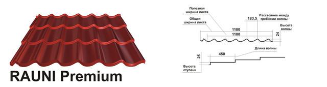 Металлочерепица-Rauni-Premium-450-ММ